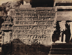 Battle scene carved in Kailas cave temple [Ellora]